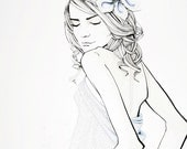 END OF EDITION: art print, girl with oyster shell and pearl flower hair accessory, june birthstone, black and white