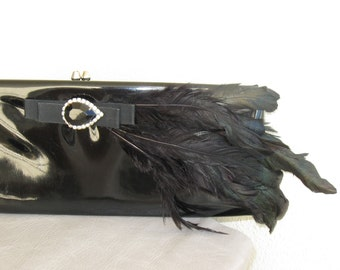 Vintage Black Patten Leather Clutch Bag Feathers Jewel Rhinestones