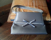 Vintage silver satin evening bag with handle and strap