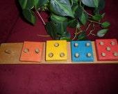 Vintage wooden numerical puzzle blocks