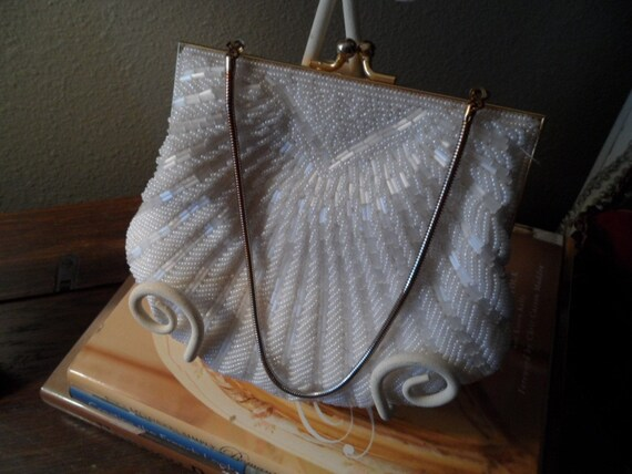 Vintage white heavily beaded evening bag with gold strap
