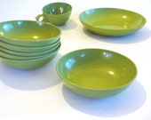 Mid Century Melamine Dishes Avacado Green