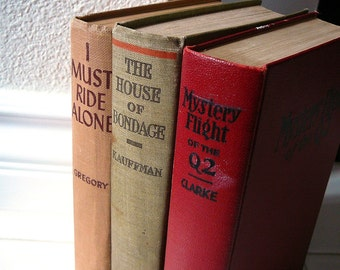 Vintage 3 BOOK SET Home Decor Interior Design Tan Olive Red Decor