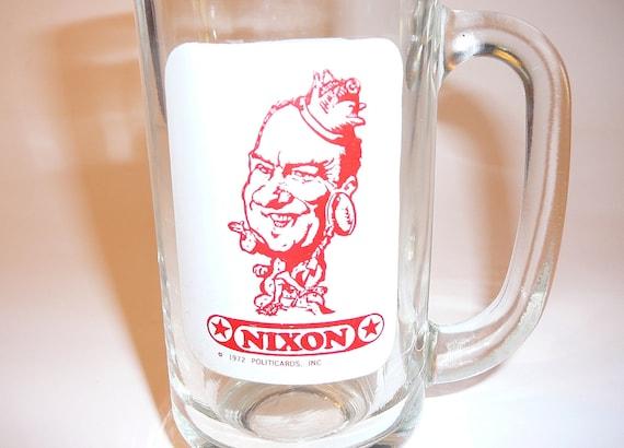 Vintage Beer Glass Richard Nixon 1970's Soda Glass