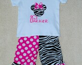 Minnie Mouse Zebra with Hot Pink and White Polka Dot Tee and Capri Pant Outfit