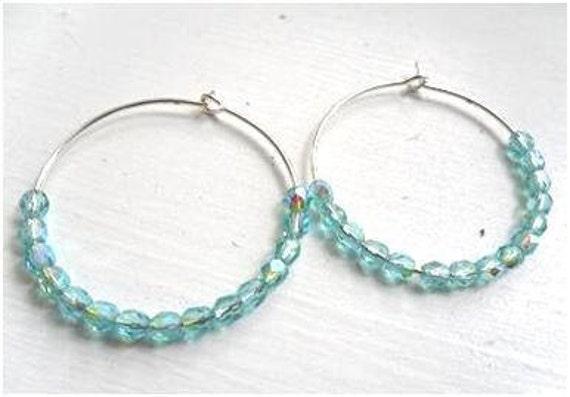 Iridescent Light Blue Hoop Earrings