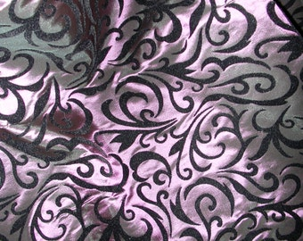 Mauve Taffeta with Black Flocked Swirls   1 Yard   (SM137)