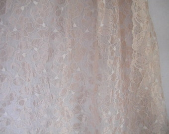 "Pastel Peach Floral Border Lace  60"" wide   1 Yard   (SM161)"