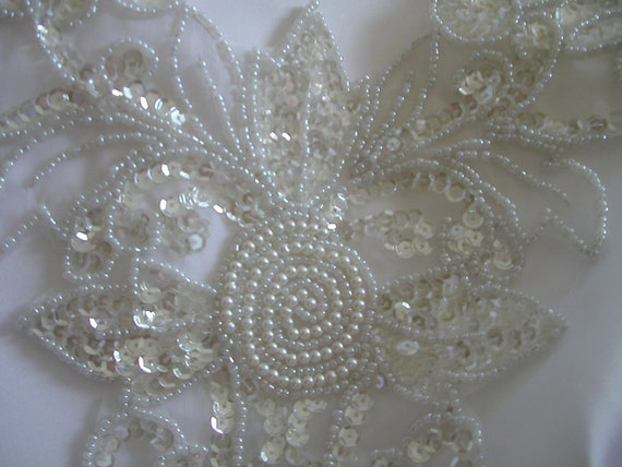 White Sequin Bead Bridal Panel Applique