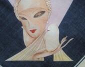 Vintage Vogue scarf with Art Deco print