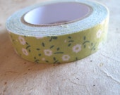 Apple Green Floral Patterned Fabric Tape