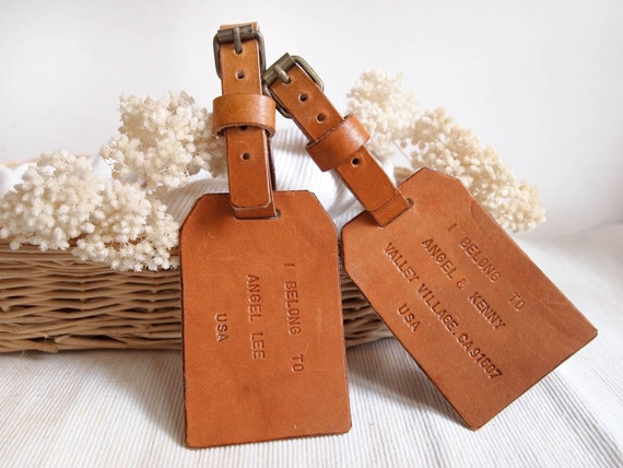 Items similar to Set of 2 Personalized Luggage Tag Leather Luggage ...