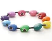 Rainbow Bitten Bead Chocolatey Bracelet