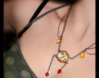 The White Rabbit Steampunk Clock Necklace - Citrine, Amethyst and Sworovski Crystal Lariat Necklace