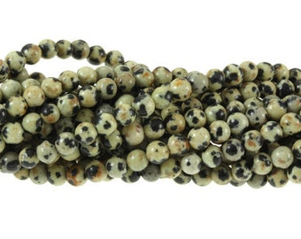 Dalmation Jasper Stone Beads 4mm 16 inch strand A Quality