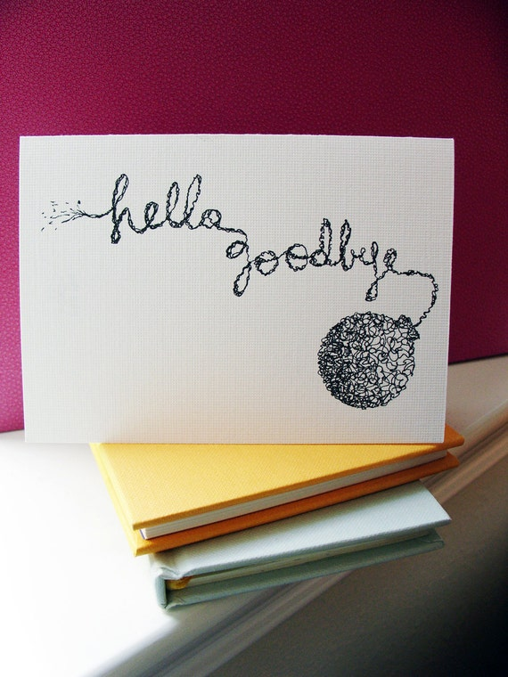 items similar to hello goodbye3 blank cards with