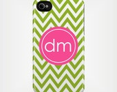 Personalized iPhone 5 Case 4 / 4S or 3G or Samsung - Pink and Green Chevron  - original design by a drop of golden sun