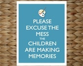 Playroom Wall Art - Paint Mess Memories -  8x10 printed digital wall decor - original design by a drop of golden sun