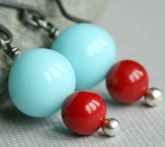 SALE - Another Heavenly World earrings - Vintage Aqua Blue Glass, Red Coral and Oxidized Sterling Silver earrings