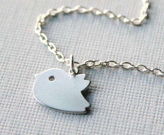 Little Fluttering Silver Bird Necklace - Sweet Little Chickadee