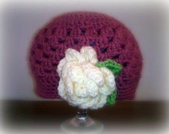 Jack and Jill Beanie - MADE TO ORDER - Choose Colors and Flower - Boy or Girl Styles Available - Toddler to Teen Size