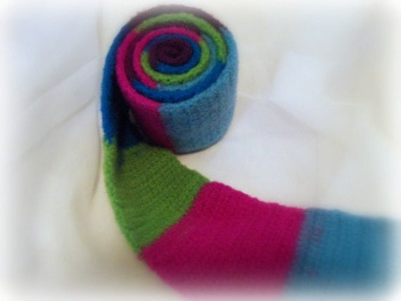 Felted Multicolor Wool Scarf - Hot Colors - Pink - Purple - Green - Blue - Teal
