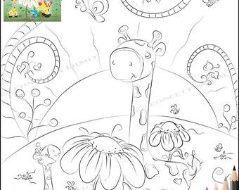 Giraffe Coloring Page - Giraffes In Wonderland - Fantasy Nursery Children's Room Digital Download PDF Coloring Page