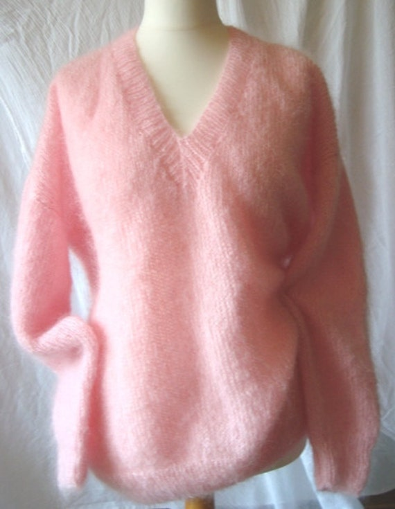 Mohair sweater  hand knitted in Rose Pink shade - free shipping.