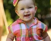 M2M Gymboree Batik Summer Baby Girl, Toddler, Crochet Flower Headband, Hair Clip