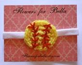 Crochet Softball Baby Girl Headband