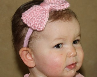 Crocheted Pink Bow Baby Girl Headband
