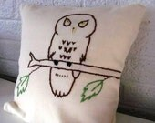Woodland owl Pillow Cover.   Hand Embroidered. 12X12.  Cream White. Brown and Green.