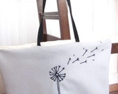 Dandelion Tote Carryall. College Student. Reusable shopping bag. Teacher Gift. School Bag. Diaper Bag. Large Tote. Gift for mom. Recycled.