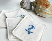 Anchors Fabric Washable Coasters.  Hand Embroidered.  Natural White and Sea Blue.  Nautical.