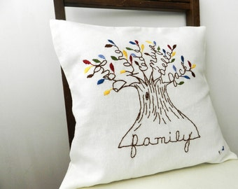 Personalized Family Tree Cover. Family Pillow. Mother's Day Gift for Wife or Mom. MulitcolorLeaves. Parents Anniversary. Grandparents Gift.