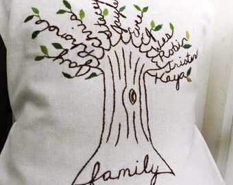 Personalized Family Tree Pillow Cover. Wedding Anniversary Personalized. Parents if the Bride Personalized Gift. Shades of Green. Family.