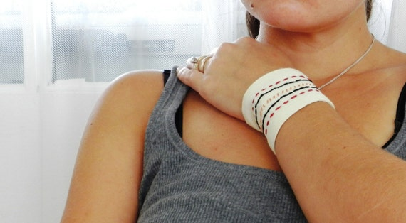 Embroidered Stripes Cuff Bracelet. Gender Neutral Jewelry. Boho Tribal Cuff. Casual Jewelry. Snap Closure. Summer Accessories.