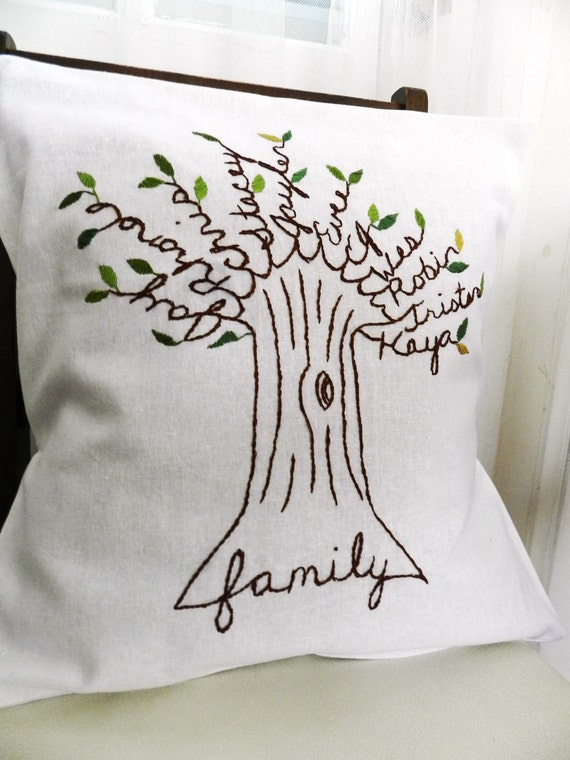 Personalized Family Tree Pillow Cover. Shades of Green. Family Pillow. Parents Anniversary Gift. Parents of the Bride. Christmas for Mom.
