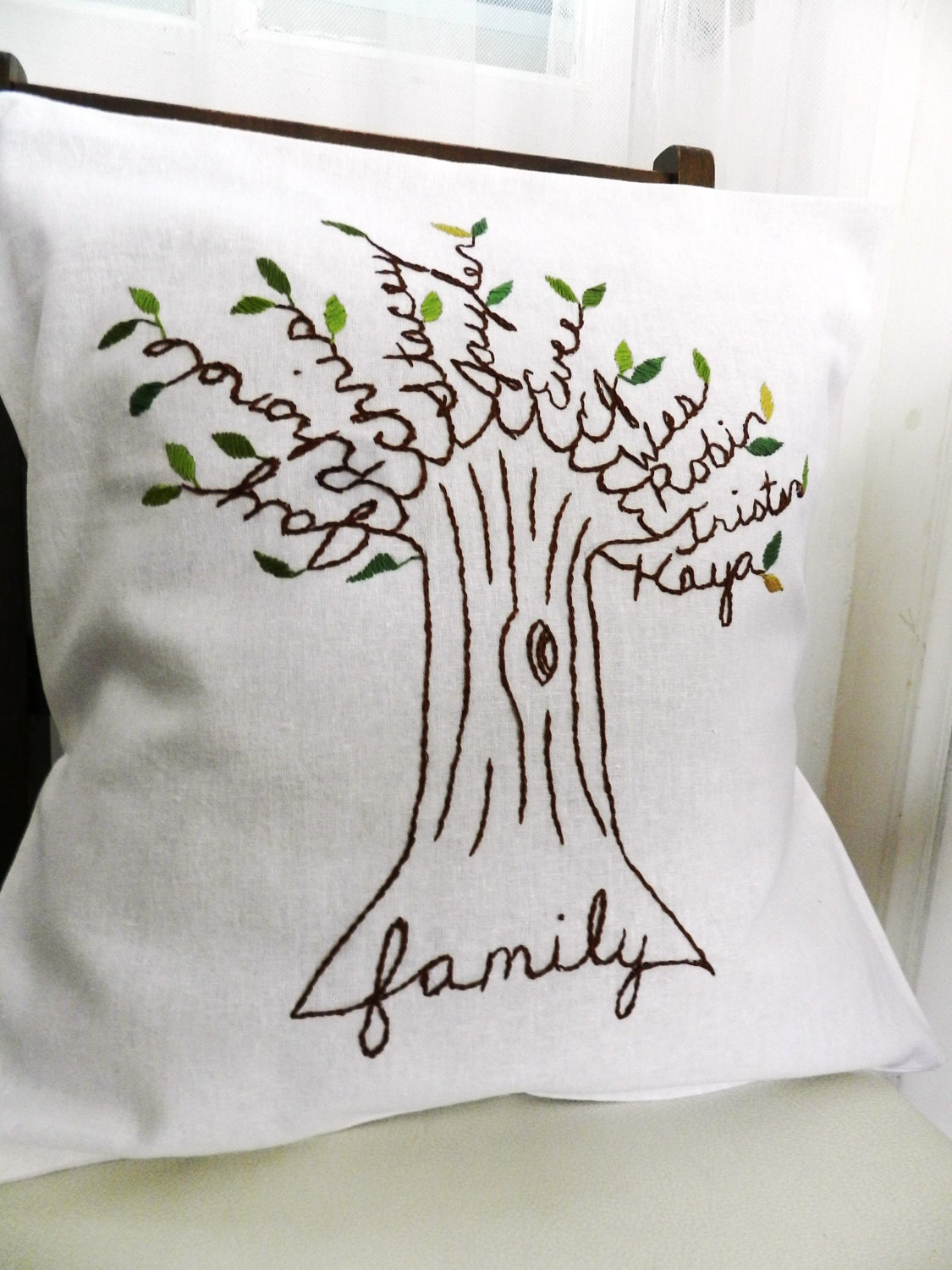 Personalized Family Tree Pillow Cover. Mother's Day Gift