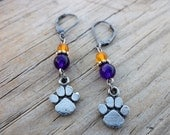 LSU Paw Print Earrings Amethyst & Amber