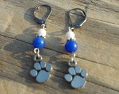 Blue and White Paw Print Earrings