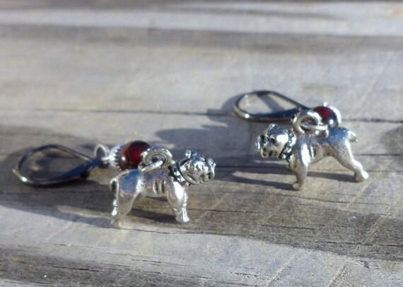 Mississippi State Bulldog Earrings Garnet & Fossil stone