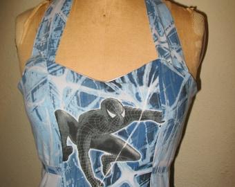 Custom made to order Black Spidey Venom Super Hero Avenger Sweetheart Ruffled Halter Mini Dress