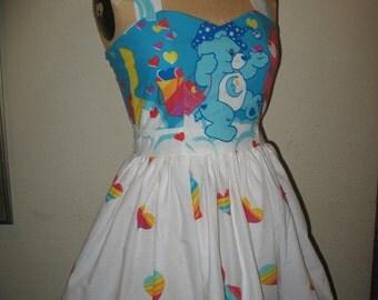 Custom made to order Sleepy Time Care Bear Sweetheart Ruffled Mini Dress