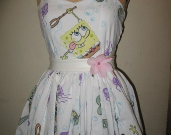 Custom Made to Order SpongeBob Under the Sea Crabby Patty Patrick Stamp Sweetheart Halter Strapless Ruffled Mini Dress