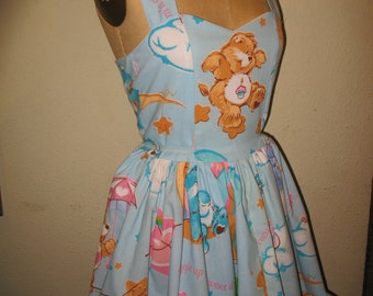 Custom Made to order Birthday Bear Care Bear Sweetheart Ruffled Halter Mini Dress