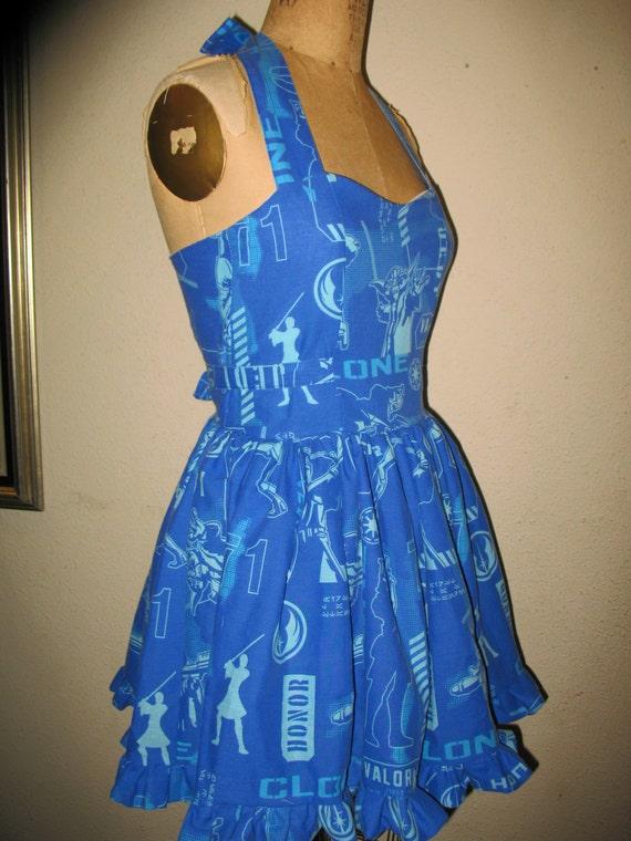 Custom made to order Blue Star Wars SweetHeart Ruffled Mini Dress