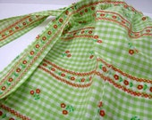 Vintage Green Gingham with Flowers and Cross Stitch Pattern  Apron