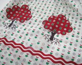 Vintage Apron with Green Apple Pattern and Apple Trees and Rick Rack Style Trim