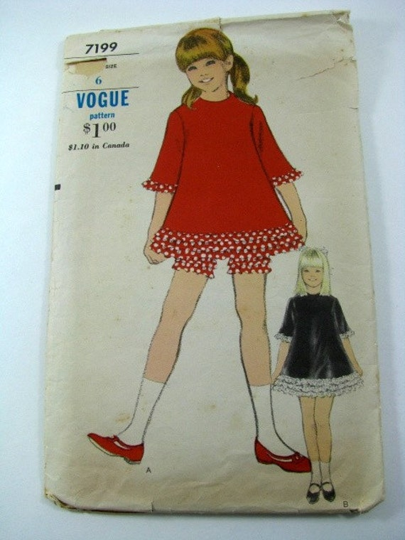 Vintage Vogue Pattern Girl's Dress with Bloomers Size 6